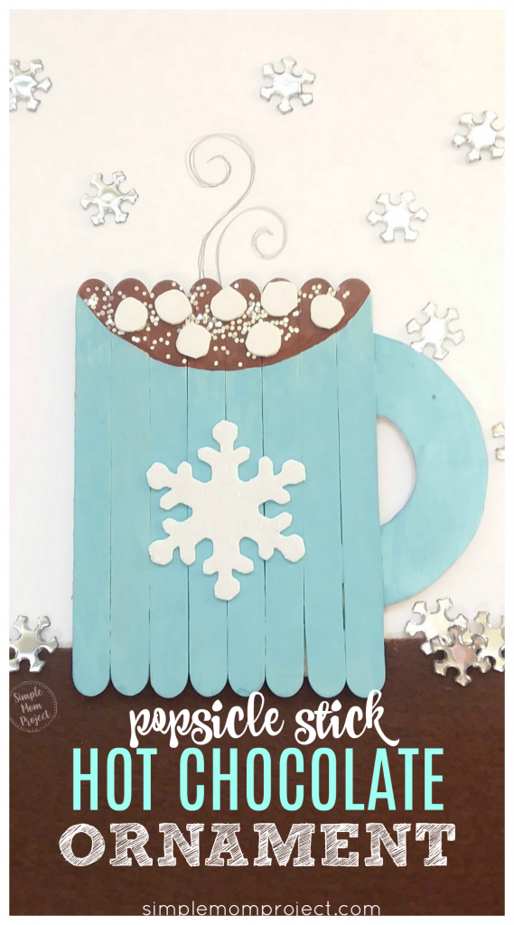 Start a family tradition with these easy and fun Popsicle stick ornament craft! Decorate the Christmas tree, host a how-to in Sunday school or give them as gifts. Simple enough for kids of all ages to enjoy! #holidaycraftideas #hotchocolate