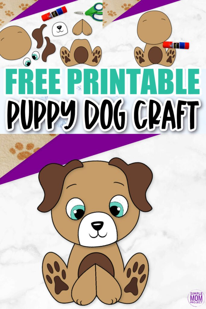 Click now and use this cute free printable dog template for make this super easy cut and paste dog craft for kids, preschoolers and toddlers! He is perfect as a puppy dog coloring sheet, in a farm animal theme unit or kindergarten classroom project.