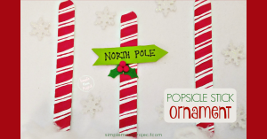 Have fun with these easy homemade North Pole Popsicle Christmas Ornaments! Share in the classroom, at home, or to go along with your Sunday school lesson. These awesome Popsicle Stick Ornaments are easy enough for any kid to make for a gift ideas or to be hung on the Christmas tree!
