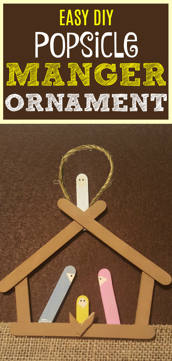 Have fun with this easy homemade Manger Popsicle Christmas Ornaments! Share in the classroom, at home, or to go along with your Sunday school lesson. These awesome Popsicle Stick Ornaments are easy enough for any kid to make for a gift ideas or to be hung on the Christmas tree!
