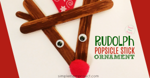 Have fun with this easy homemade Rudolph Popsicle Stick Christmas Ornaments! Share in the classroom, at home, or to go along with your Sunday school lesson. These awesome Popsicle Stick Ornaments are easy enough for any kid to make for a gift ideas or to be hung on the Christmas tree! #RudolphReindeerOrnament #Christmas #diyornament