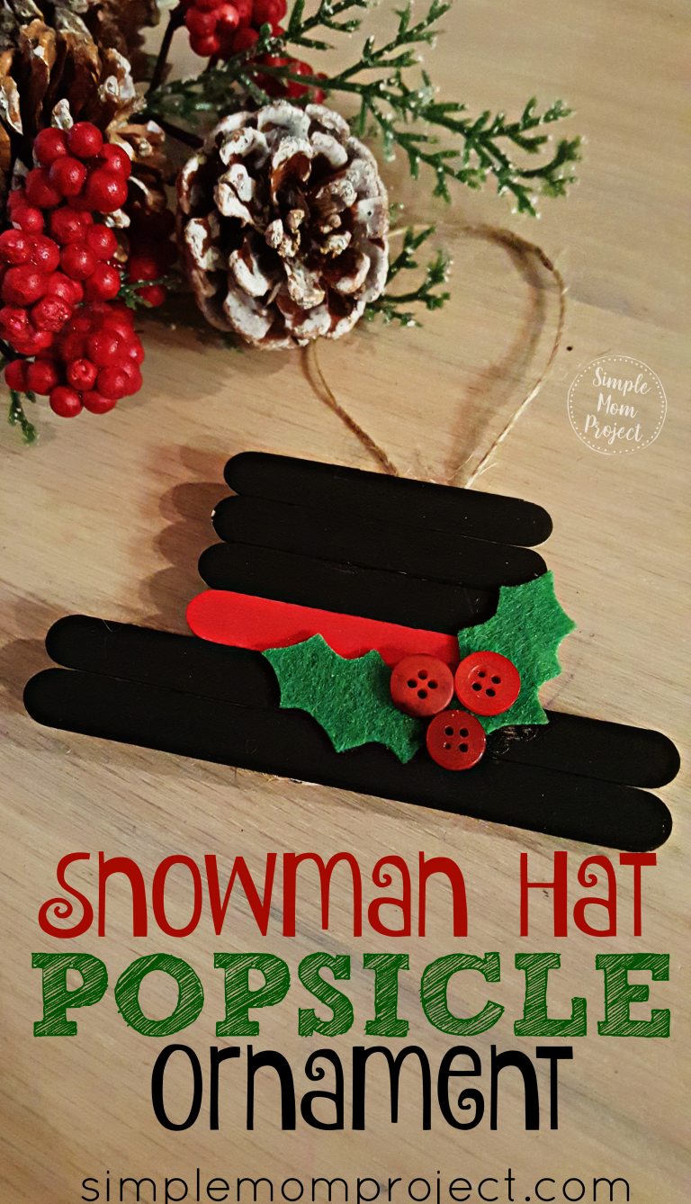 Have fun with this easy homemade Snowman Hat Popsicle Stick Christmas Ornament! Share in the classroom, at home, or to go along with your Sunday school lesson. These awesome Popsicle Stick Ornaments are easy enough for any kid to make for a gift ideas or to be hung on the Christmas tree