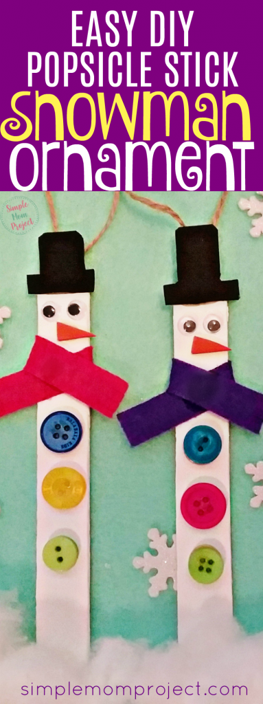 Have fun with these easy homemade Snowman Popsicle Stick Ornaments! Share in the classroom, at home, or to go along with your Sunday school lesson. These awesome Popsicle Stick Ornaments are easy enough for any kid to make for a gift ideas or to be hung on the Christmas tree!
