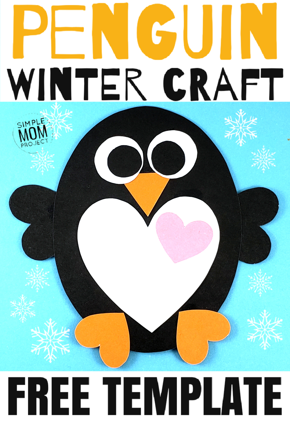 See this post for a FREE printable template to make your own winter Penguin! This simple DIY penguin winter is an easy craft for toddlers, big kids and adults to make. Great for classroom winter crafts and art projects. #WinterCrafts #PenguinCrafts