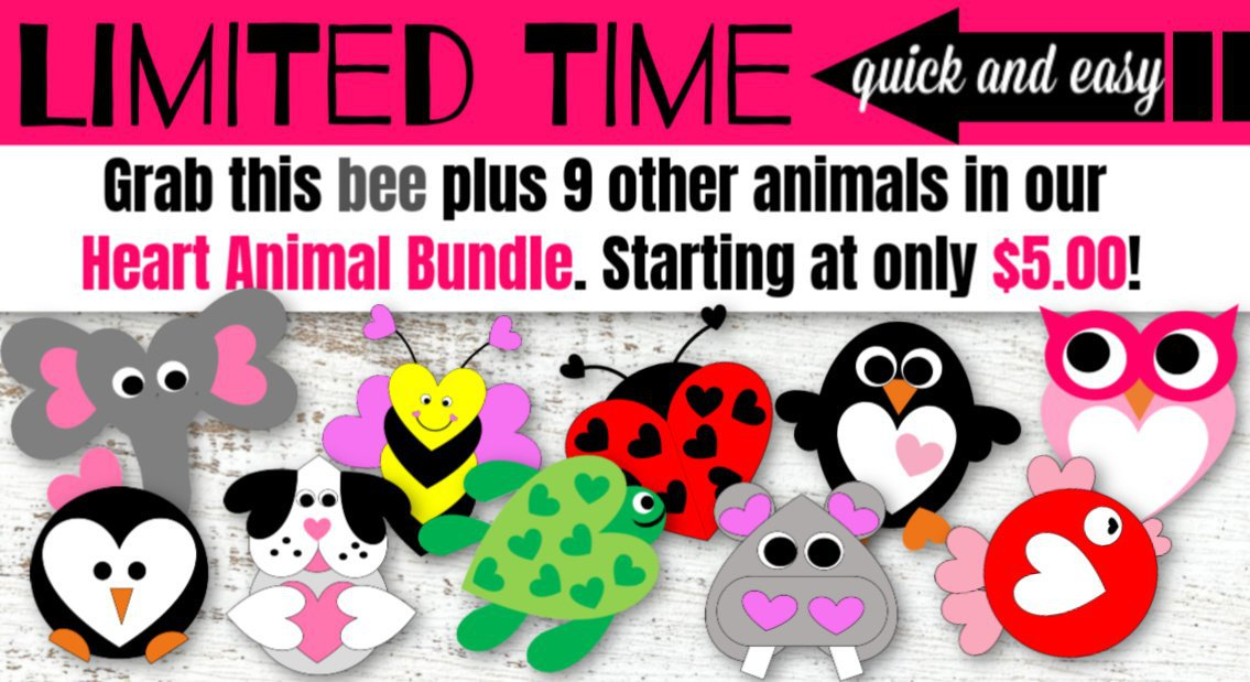 Bumble Bee Heart Animal Template Craft Banner