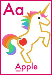 Letter A is for Apple free printable flashcards for toddlers