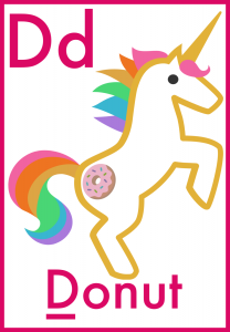 Letter D is for Donut Alphabet Flash Cards for preschoolers