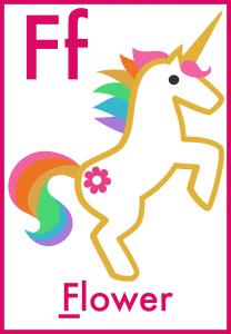 F is for Flower alphabet flashcards for preschool toddler