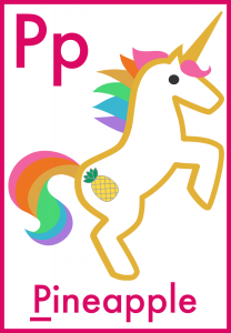 Letter P is for Pineapple Printable Flashcards for preschoolers
