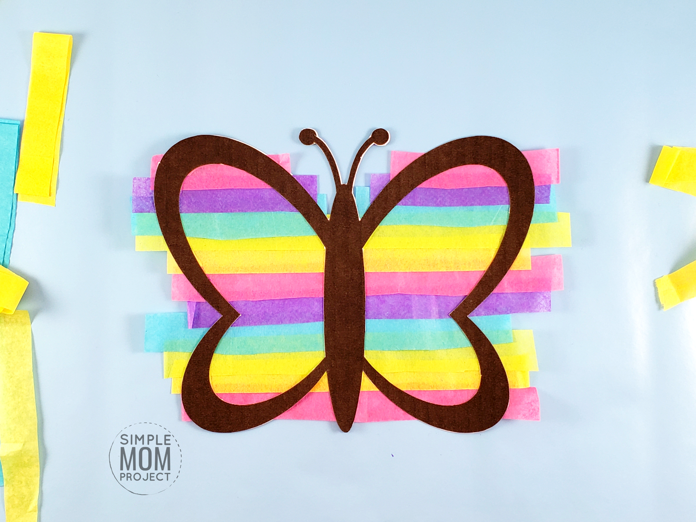 Print your FREE template and give your windows a fun stained glass effect with this easy, DIY Easter Spring Butterfly Suncatcher craft! Great for kids, toddlers and adults! #Spring #springcrafts #Easter #ButterflyCrafts #EasterCrafts
