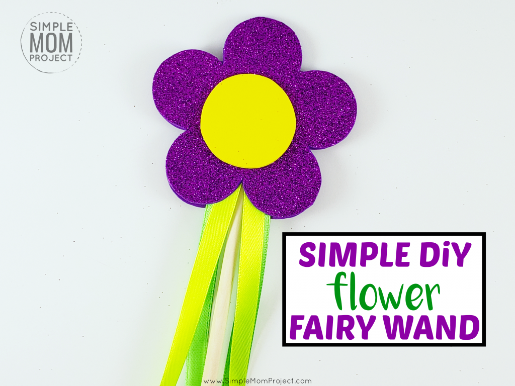 Hey mom! Learn how to make an awesome DIY flower fairy wand for your little princess! Check out the free printable flower wand template for a cute summer craft! Great for dress up playtime or for your little girl's next birthday party!