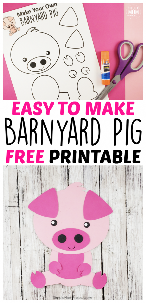 It's the Year of The Pig! Click here to find a FREE printable pig template for an easy diy pig craft! Use it with your farm theme or a fun way to tell the Three Little Pigs fairy tale to your preschool or toddlers! #farmcrafts #pigcrafts #farmanimals