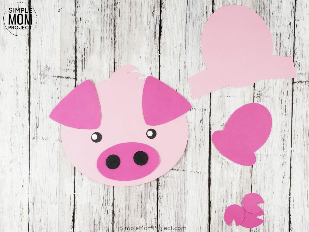 Step 2 of Pig kindergarten crafts for kids