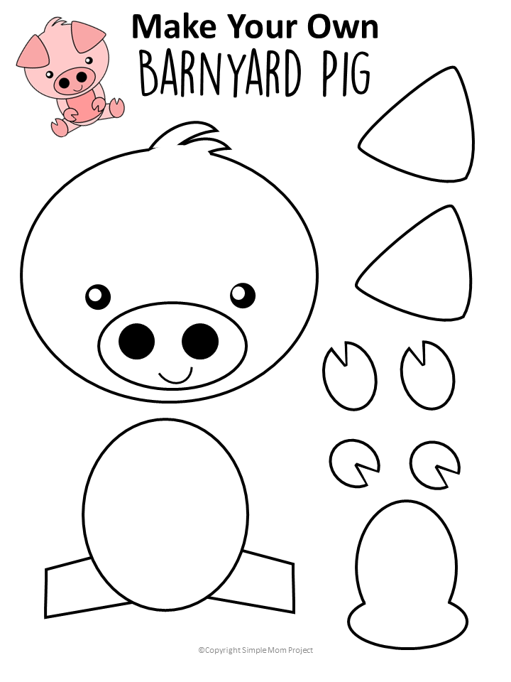 FREE printable Pig Template for Farm theme activities
