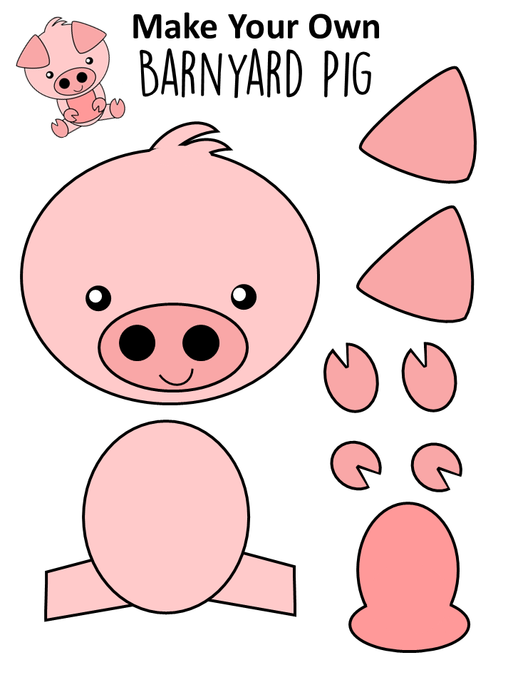Colored Pig Template for Farm Theme Activity