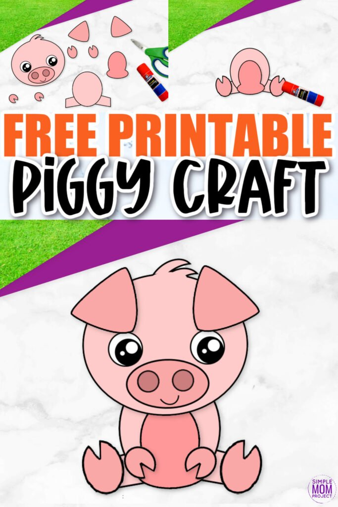 Click now and use this cute free printable pig template for make this super easy cut and paste pig craft for kids, preschoolers and toddlers! He is perfect as a pig coloring sheet, in a farm animal theme unit or kindergarten classroom project.