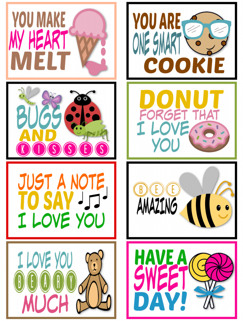 Cute Saying Lunchbox Notes for Kids Love Theme