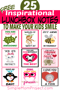 FREE Printable Lunchbox notes for kids with cute sayings and clever quotes