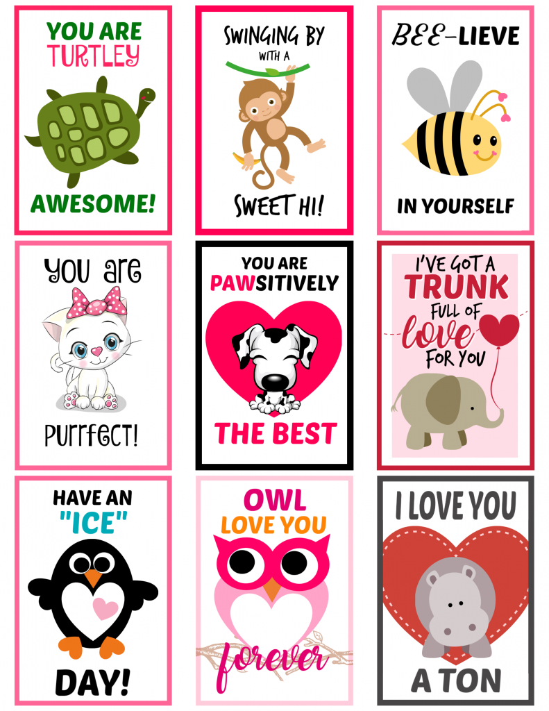 Free Printable lunch box notes with cute sayings Animal Theme