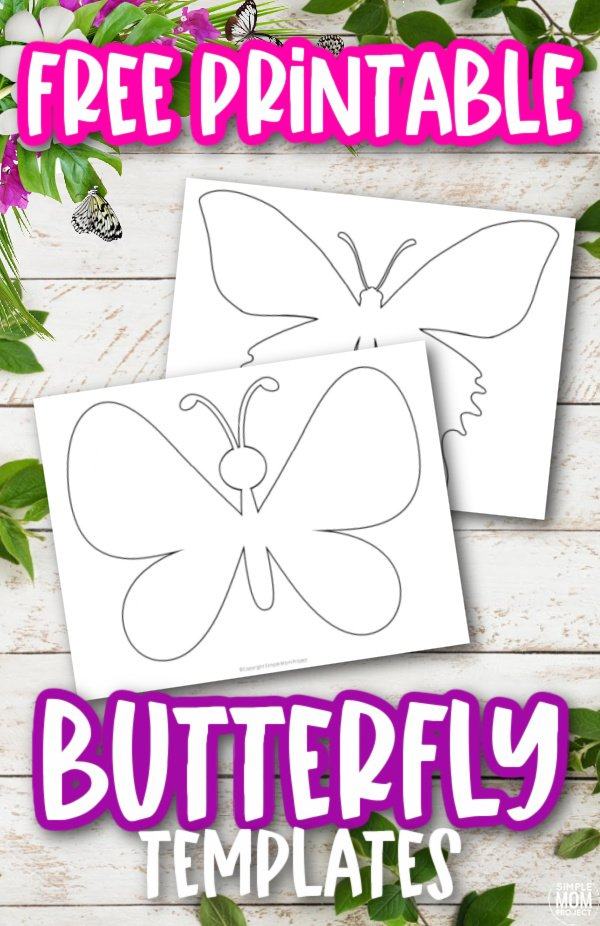 Use these free printable butterfly templates, butterfly outlines and butterfly stencils for your DIY butterfly crafts, butterfly coloring pages, or just to have an awesome monarch butterfly design! #butterflycrafts #butterflytemplates #butterflies