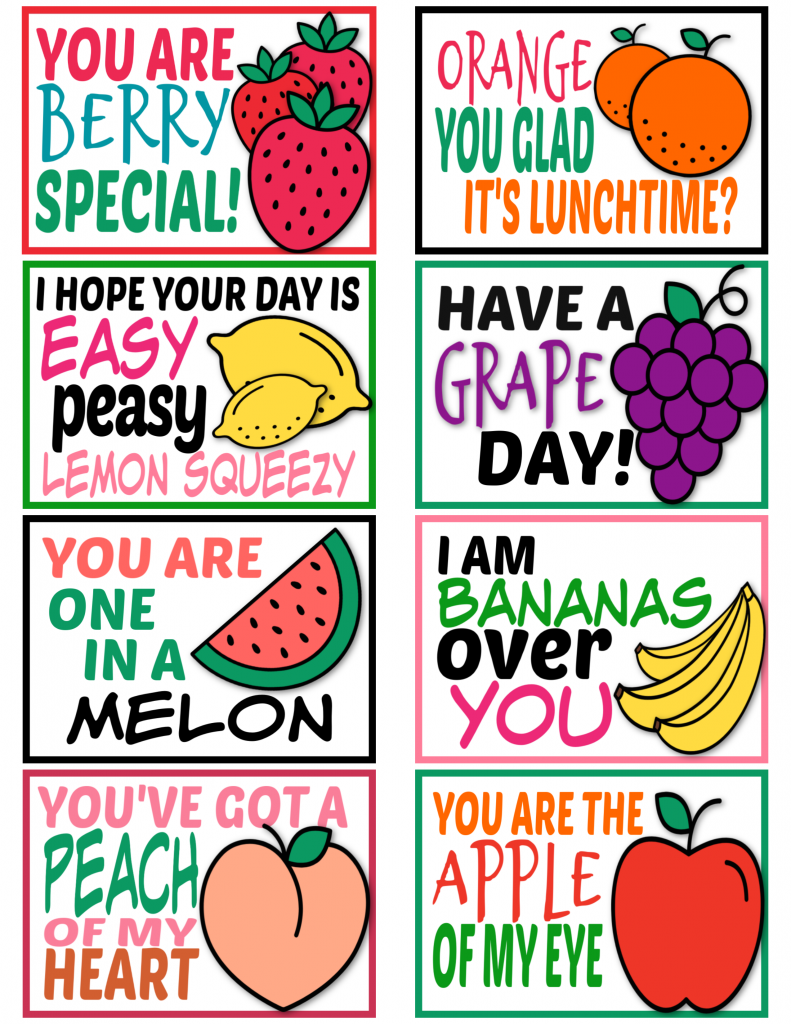 Lunchbox Notes cute sayings for kids Fruit theme
