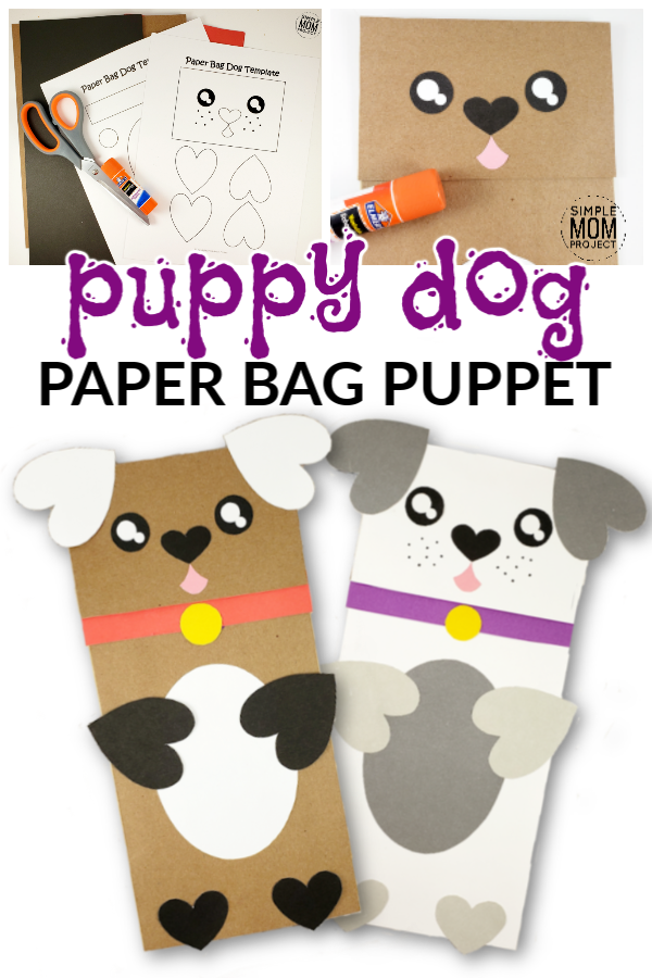 graphic relating to Free Printable Paper Bag Puppet Templates titled Very simple Do-it-yourself Paper Bag Puppy Puppet Cost-free Template - Very simple Mother