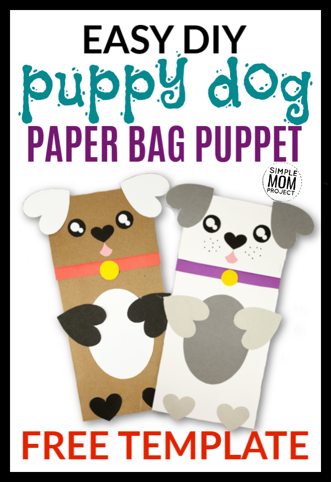 Easy Diy Free Template puppy dog paper bag puppet craft for kids and toddlers