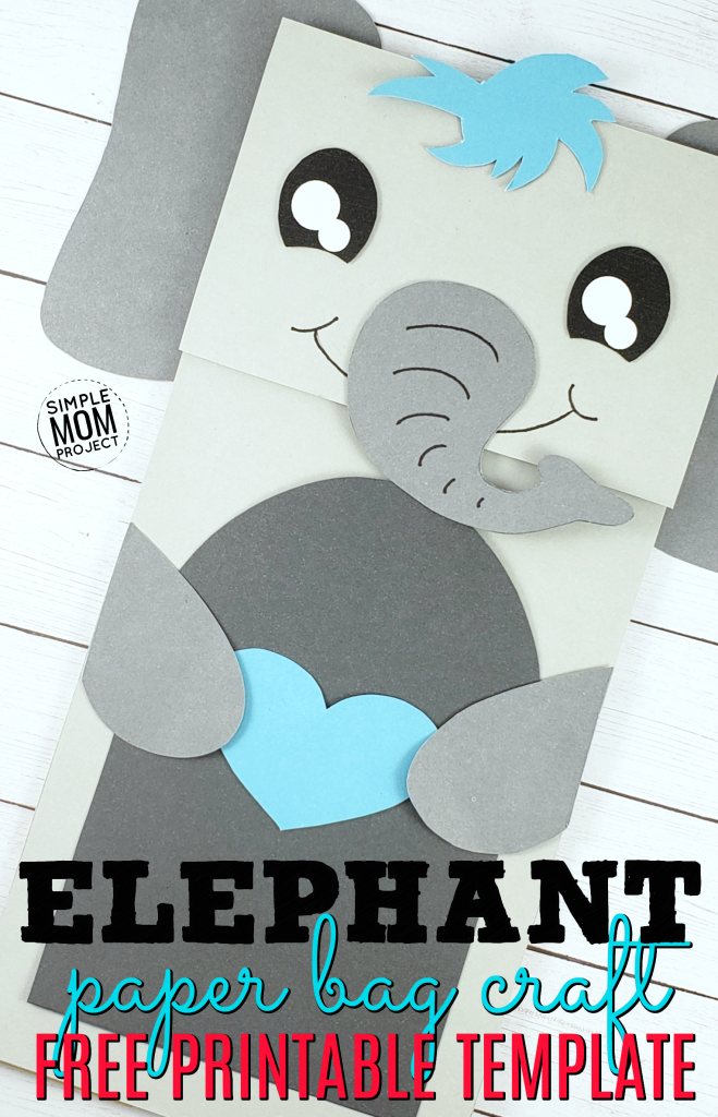 Easy and Fun Elephant Craft Paper bag Puppet with free printable template