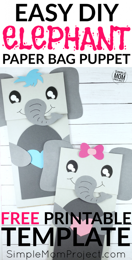 Paper Bag Elephant Craft for Preschoolers, Kids and toddlers free elephant template