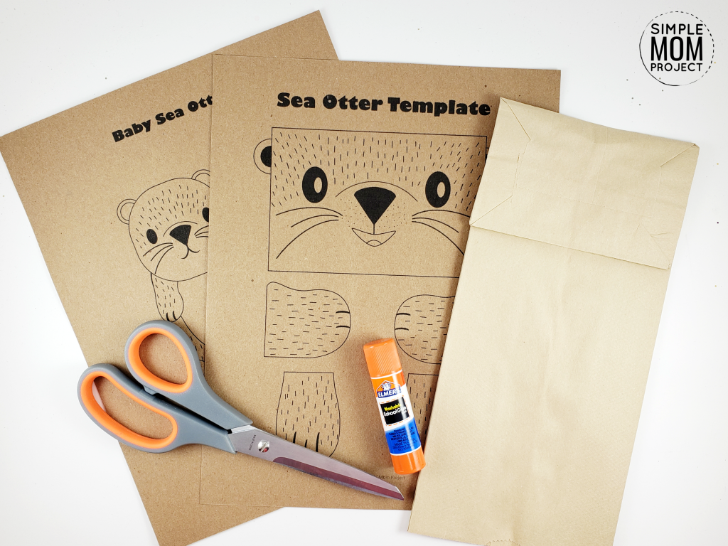 Free Printable Sea Otter Paper Bag Craft for Kids, toddlers, and Preschoolers