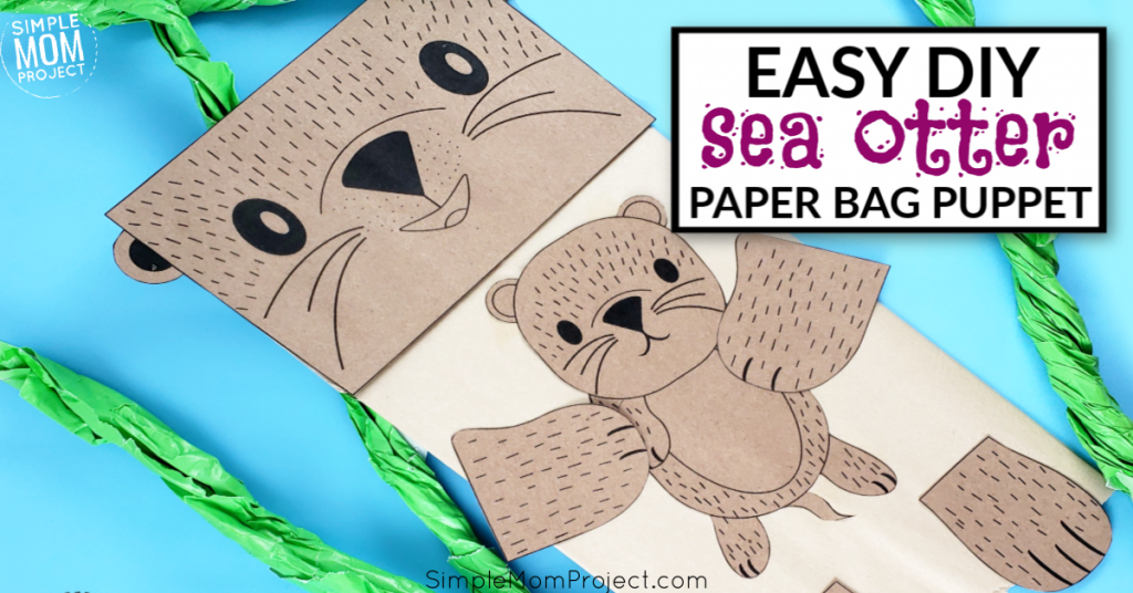Use this free printable template to make this super cute and fun sea otter paper bag puppet! This is great to tie into your water or river theme. This paper bag sea otter is such a fun craft for kids or preschoolers! #paperbagpuppets #seaottercrafts #diypuppets #puppets #paperbagcrafts