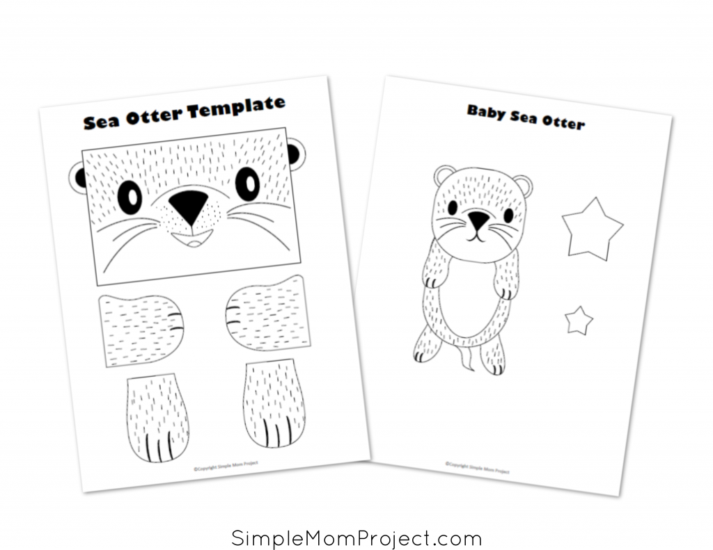 Free Printable Sea Otter Paper Bag Craft for Kids, toddlers, and Preschoolers Printable