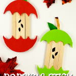Looking for a fun, DiY Fall or Autumn party decoration for kids to make? Click now for a cheap, popsicle stick apple craft tutorial. Do them with your preschoolers in the classroom or at home with your toddlers. This Back to School, Autumn and Fall Apple is budget friendly and SO easy to do! #PopsicleSticks #BacktoSchool #BacktoSchoolCrafts #FallCrafts #AutumnCrafts