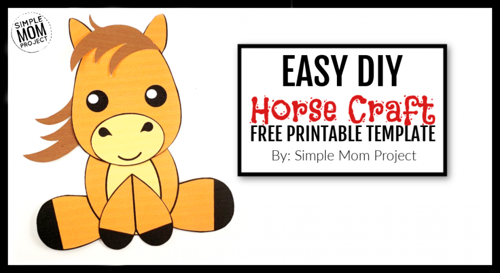 Looking for an easy horse craft in your next farm theme? Click now to make this cute DiY horse art project. With the FREE printable template, any toddler, preschooler and kid can do it! Choose to color your horse craft or make it. Choice is yours! #farmcrafts #farmtheme #horsecrafts