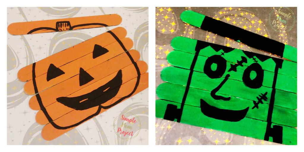 Jack-O-Lantern Puzzle & Frankenstein Popsicle Stick Craft