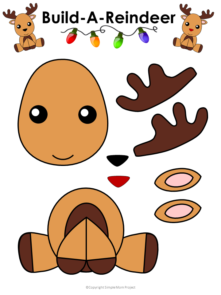 This is a picture of Printable Reindeer Template for gingerbread man