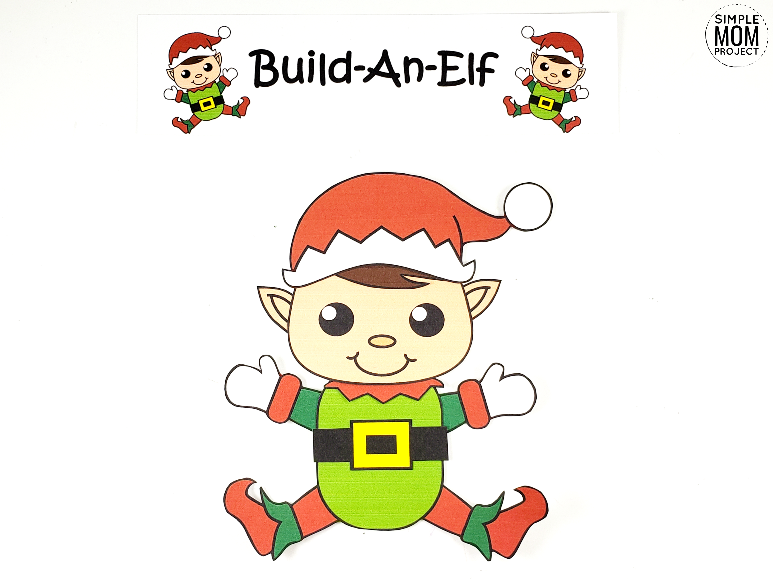 asy Printable Elf Craft Ornament for kids, preschoolers and toddlers