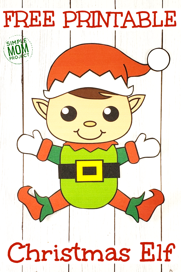 Easy Printable Elf Craft Ornament for kids, preschoolers and toddlers Pin 1