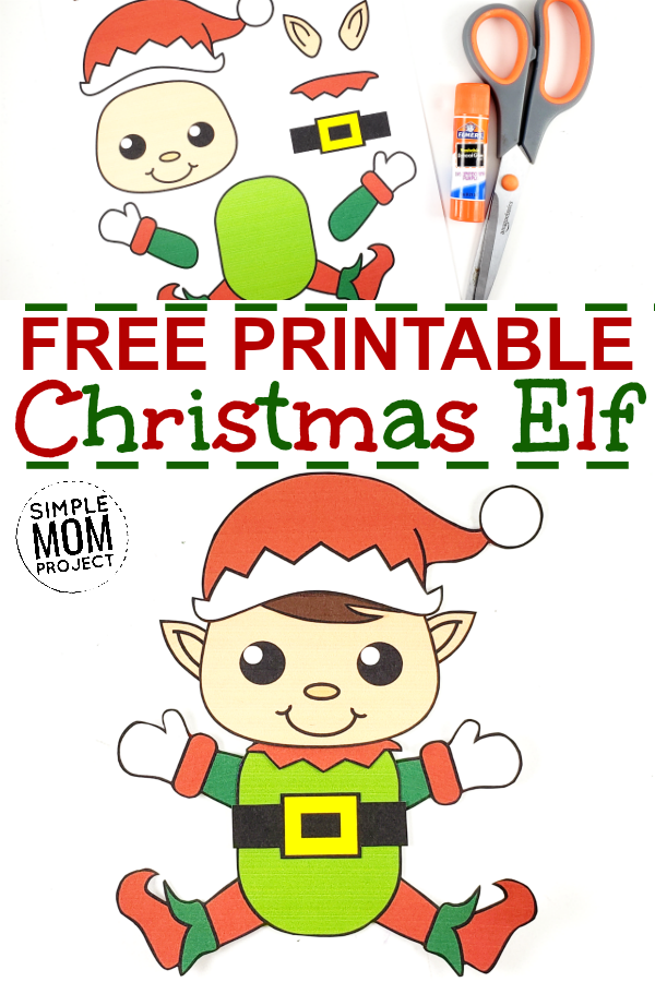 Easy Printable Elf Craft Ornament for kids, preschoolers and toddlers Pin 3