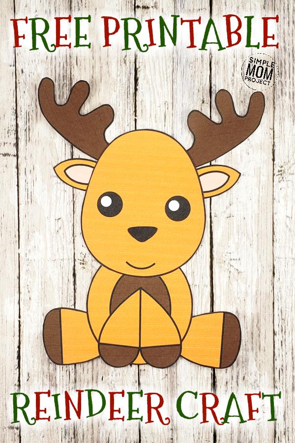 Easy Printable Reindeer Craft Ornament for kids, preschoolers and toddlers