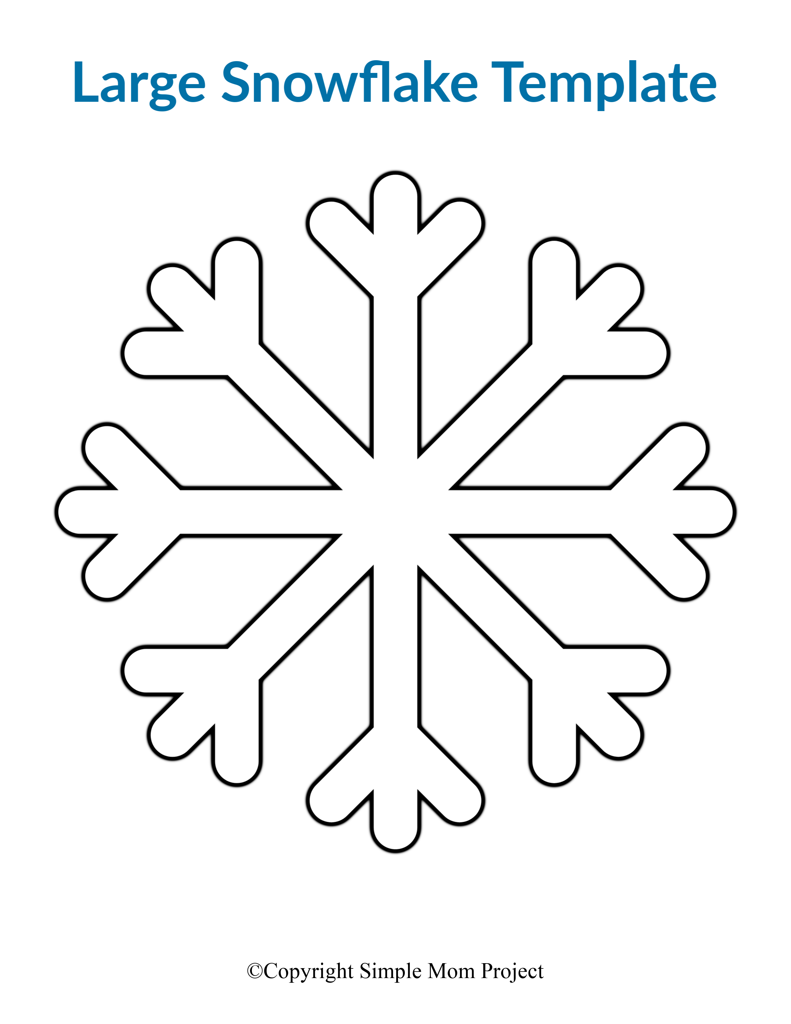 Printable Large Snowflake Template Paper Cut Out Stencil