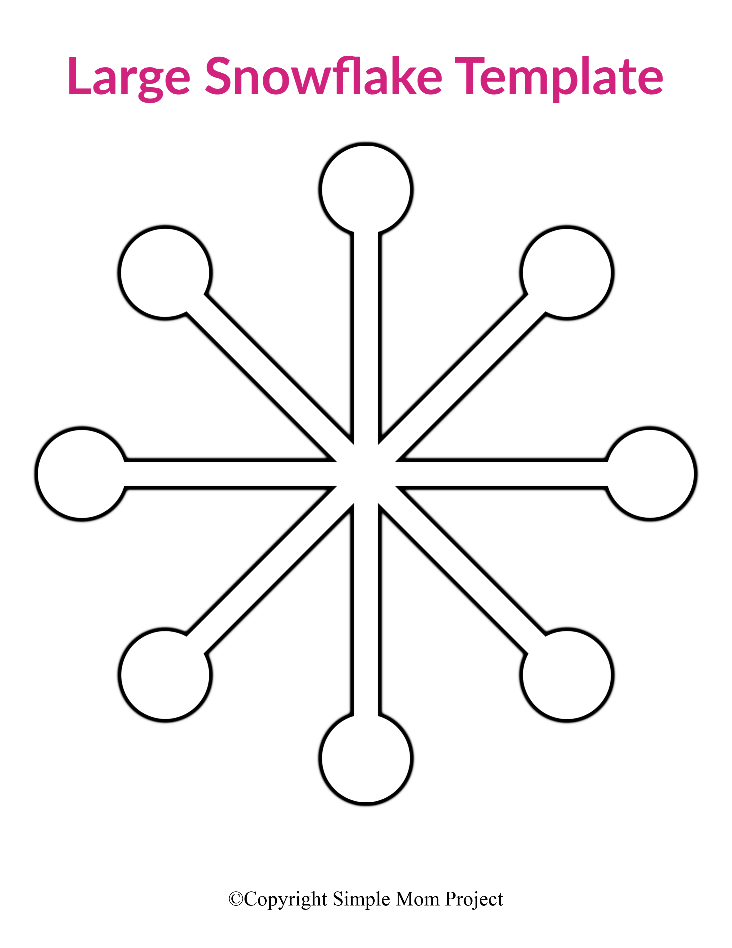 Printable Snowflake Coloring Pages For Kids | 3300x2550
