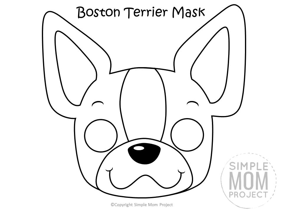 Free Printable Boston Terrier Dog Face Mask