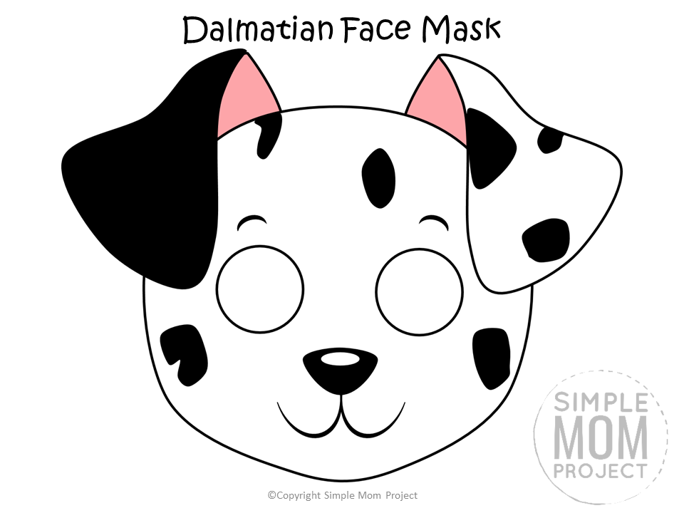 Free Printable Dalmatian Dog Face Mask B&W Colored