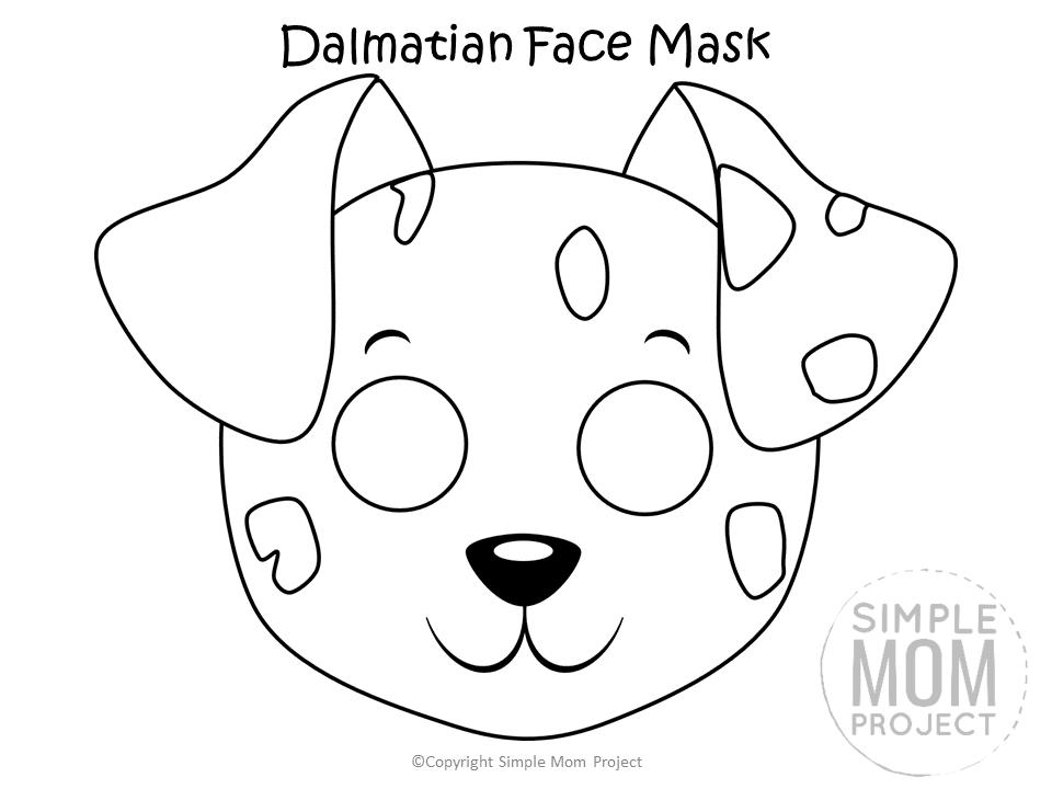 Free Printable Dalmatian Dog Face Mask B&W