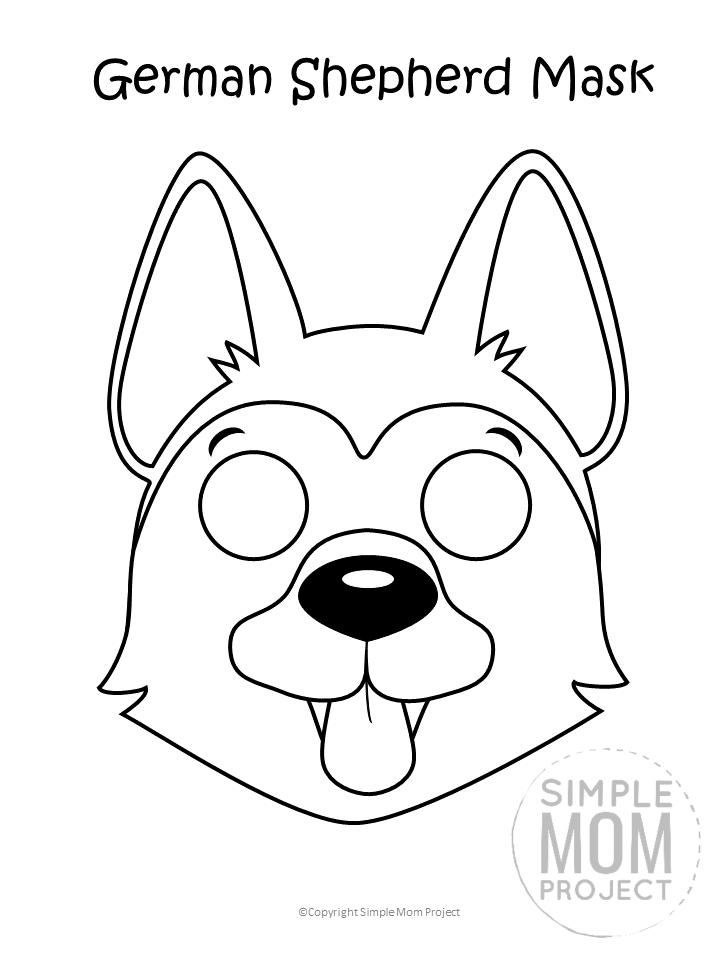 Free Printable German Shepherd Dog Face Mask Coloring Page