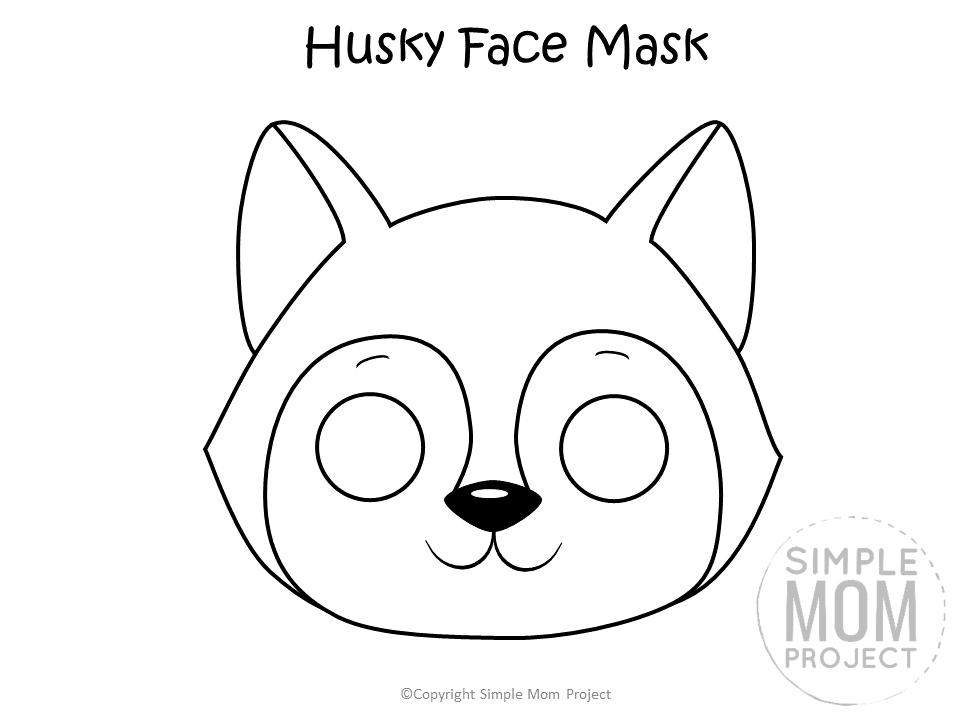 Free Printable Husky Dog Face Mask Black and White