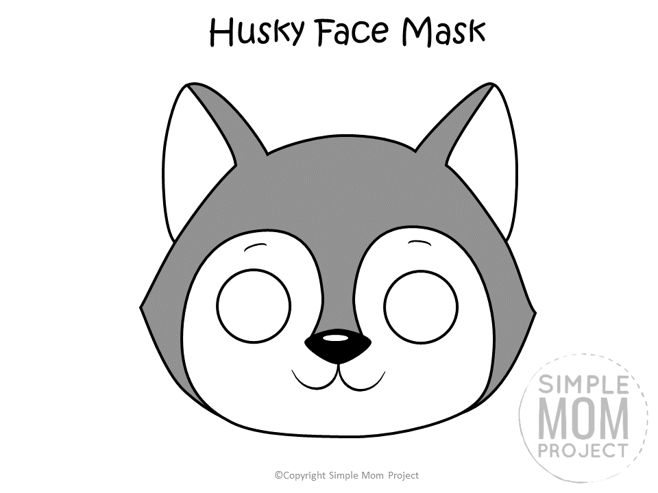 Free Printable Husky Dog Face Mask Colored