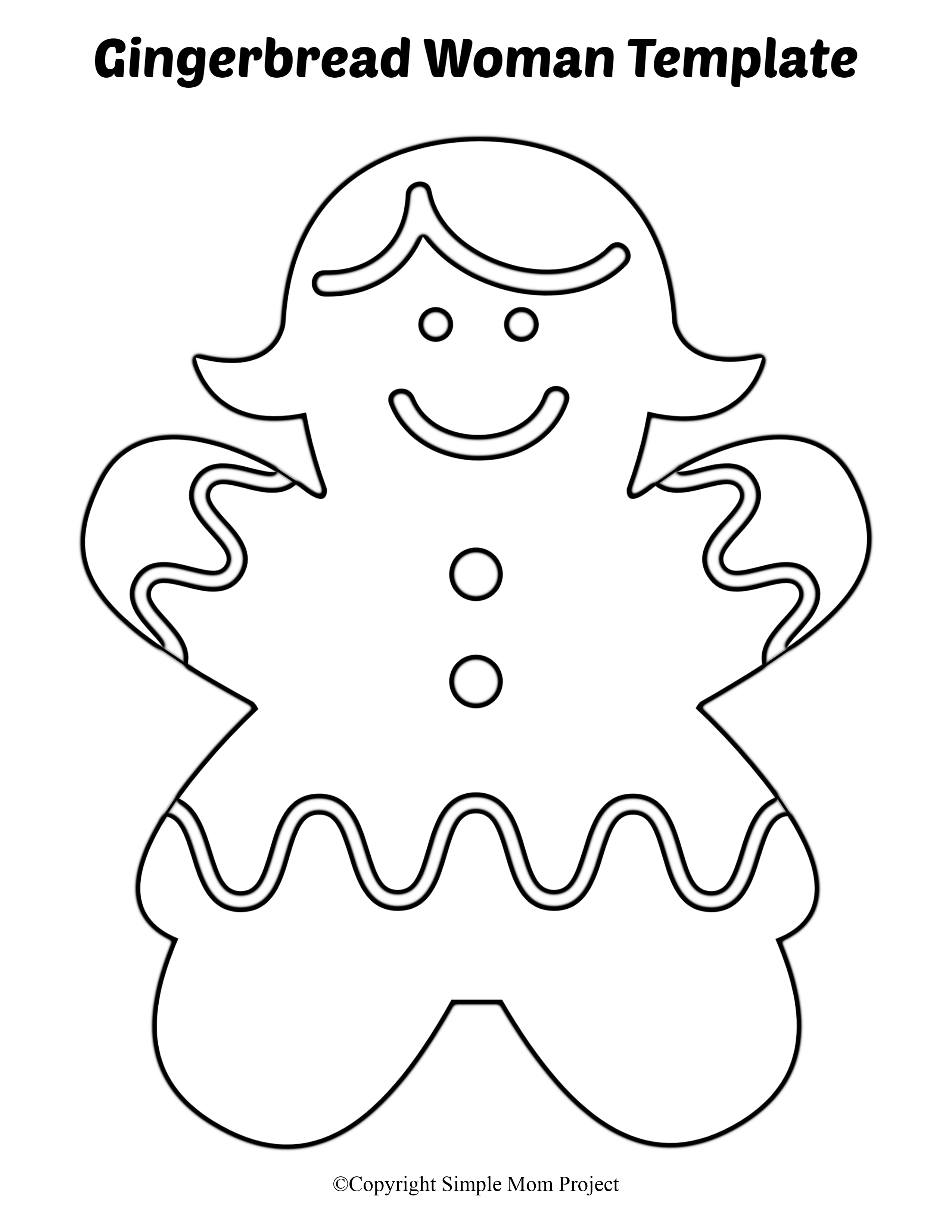 Free Printable Large Gingerbread Woman Cutout Template