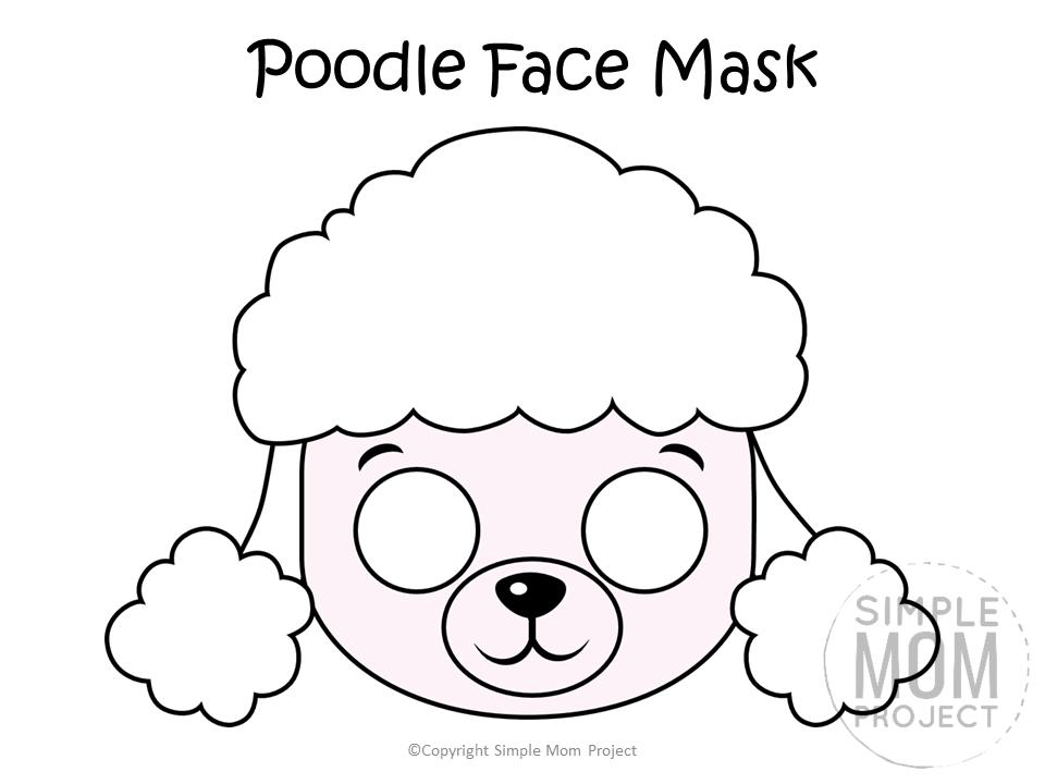 Free Printable Poodle Dog Face Mask B&W